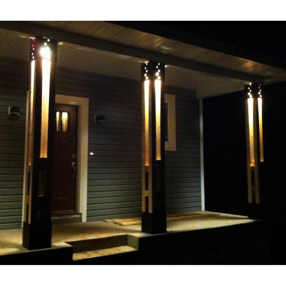 4 Piece Column Light Brackets Installed with Lighting