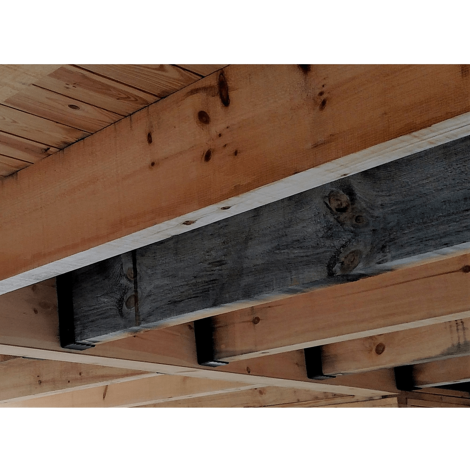 Custom Joist Hanger with Inside Flange - Hammered - Weathered