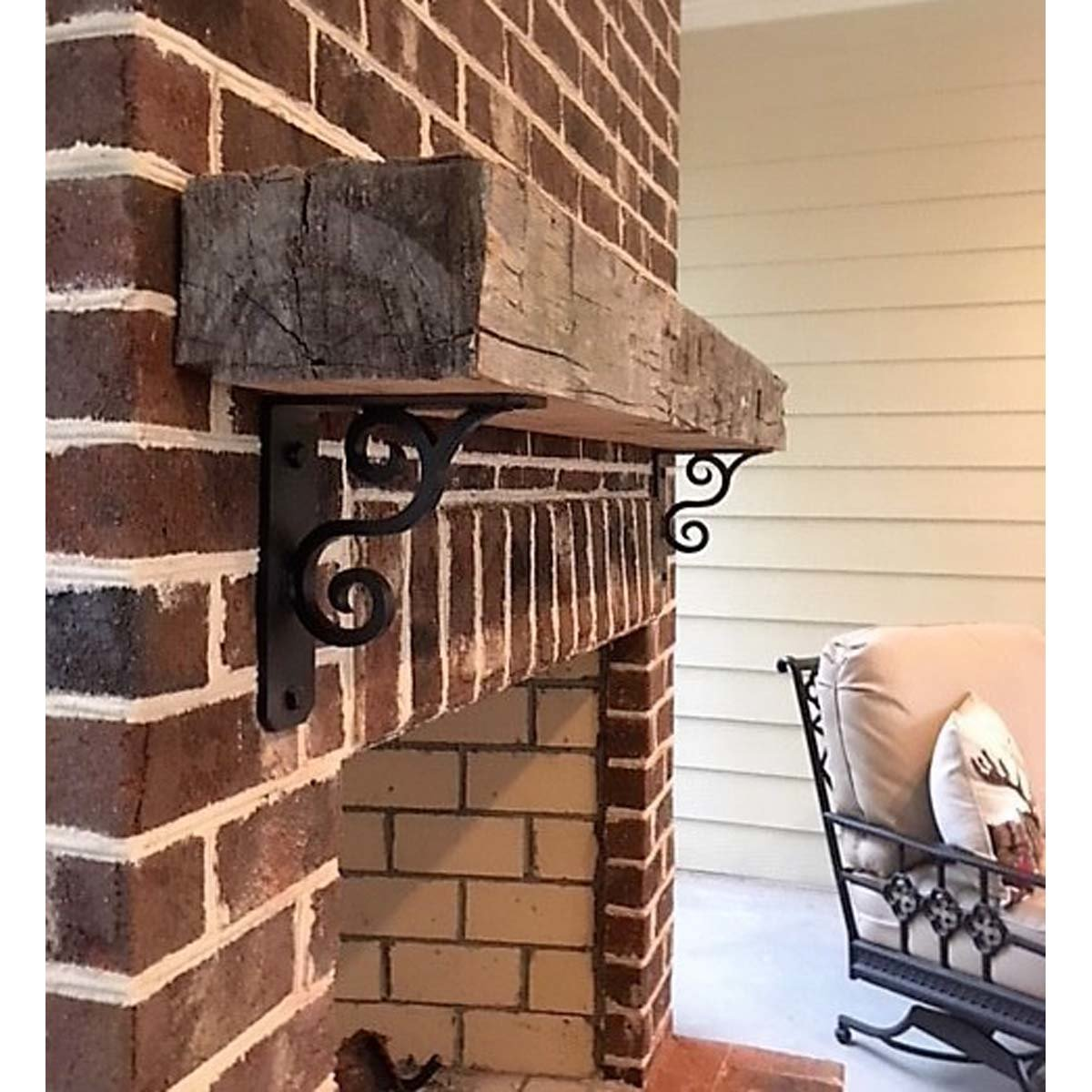 """""""L"""" Angle Decorative Scroll Gusset Steel Fireplace Mantle Support Bracket"""
