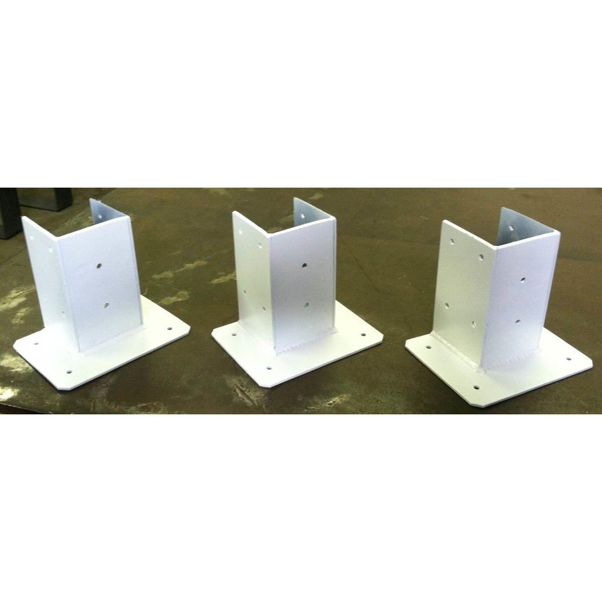 3 - Sided Wood Post Base Brackets Painted White